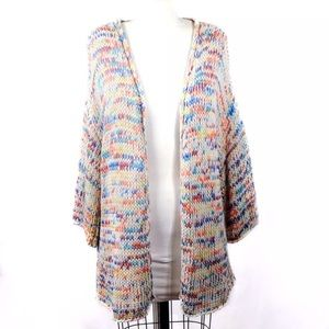 Open Front Oversized Cardigan with 3/4 Sleeves